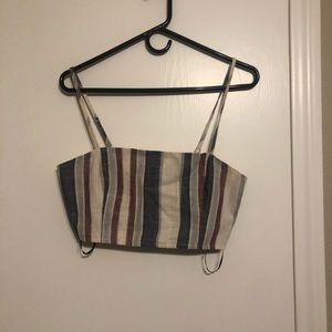 NWT Rainbow Striped Cropped Top